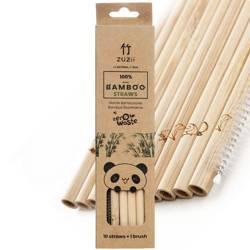 Słomki bambusowe bez kory 10 szt + czyścik